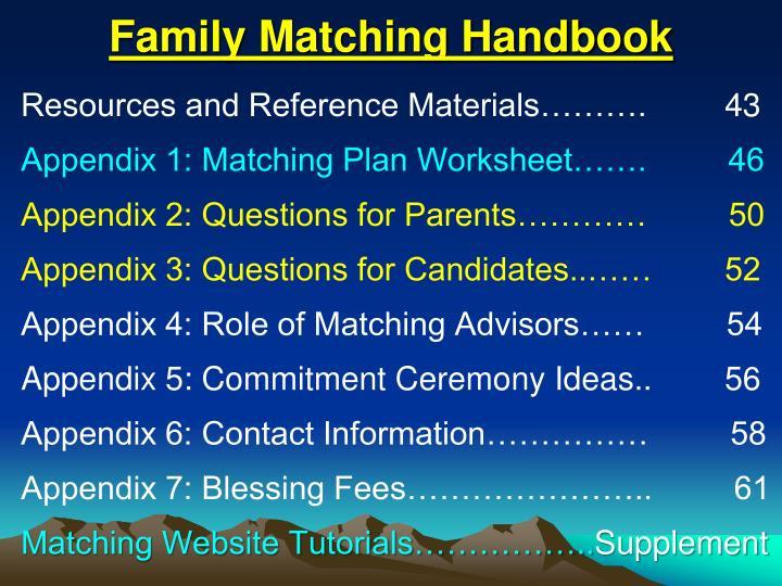 Family Matching Handbook