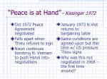 peace is at hand kissinger 1972