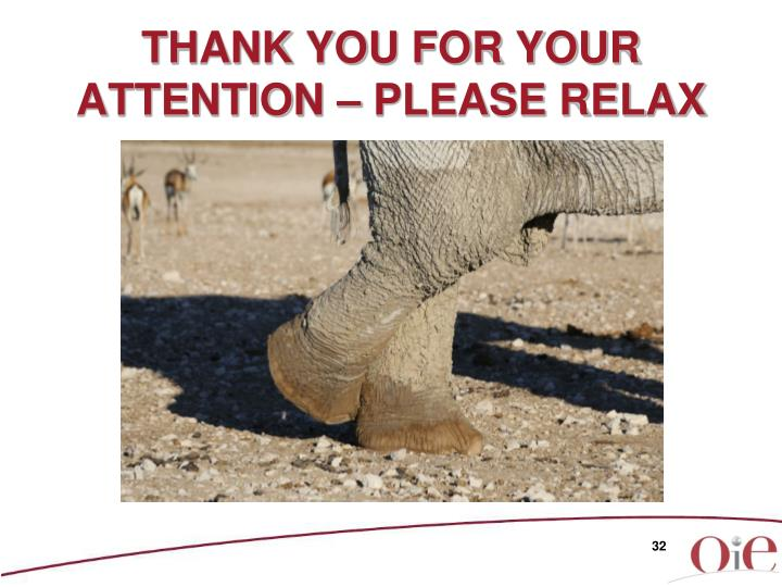 THANK YOU FOR YOUR ATTENTION – PLEASE RELAX