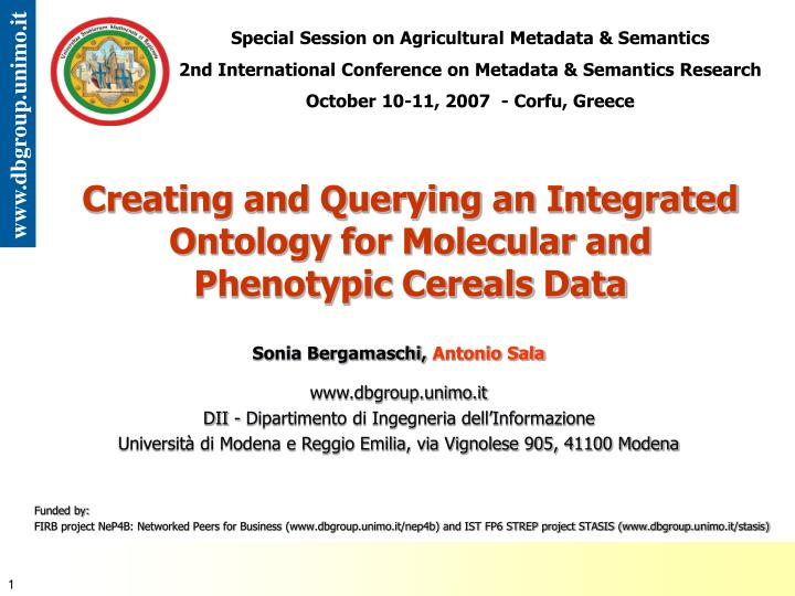 creating and querying an integrated ontology for molecular and phenotypic cereals data n.