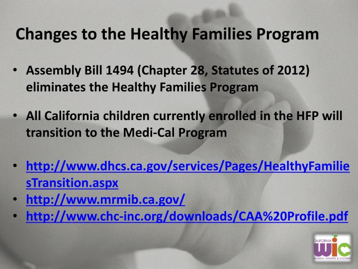 Changes to the Healthy Families Program