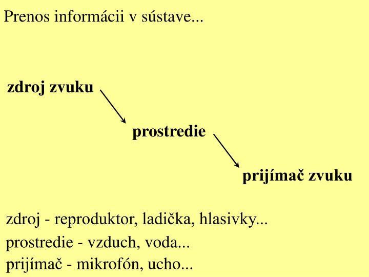 Prenos informácii v sústave...