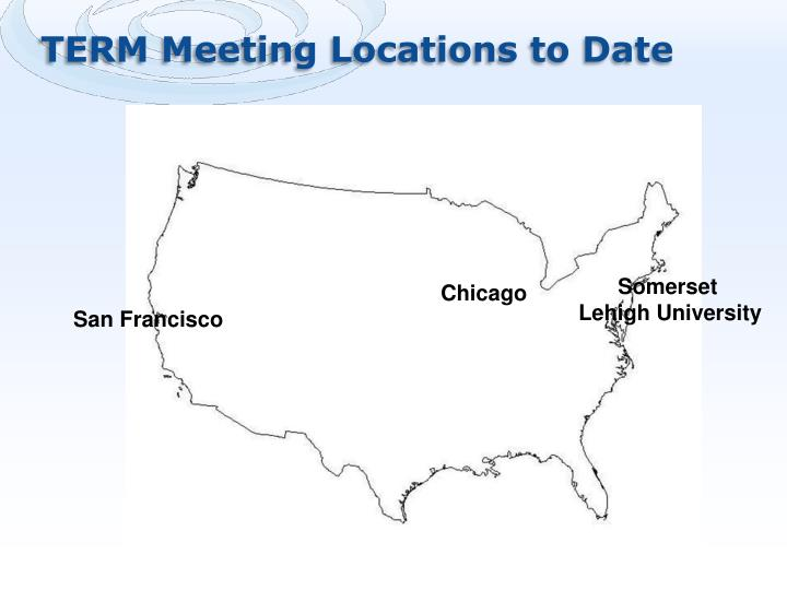 TERM Meeting Locations to Date