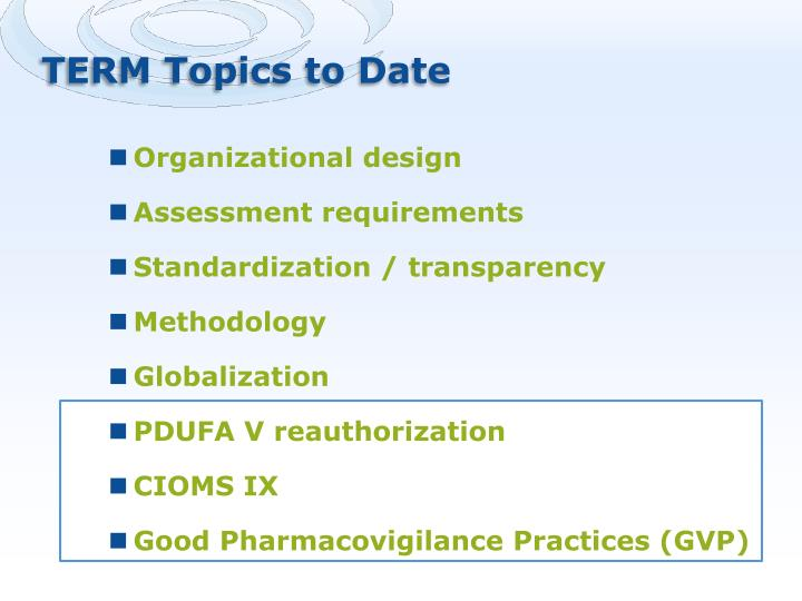 TERM Topics to Date