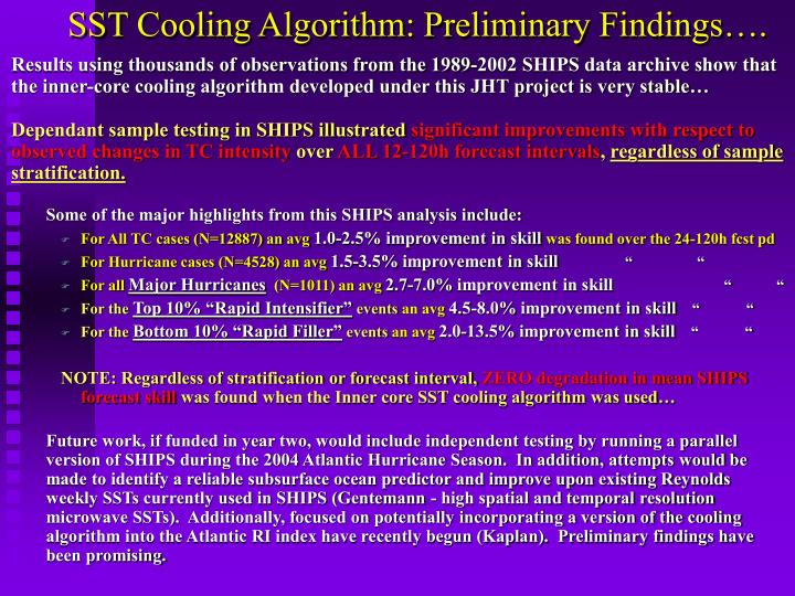 SST Cooling Algorithm: Preliminary Findings….