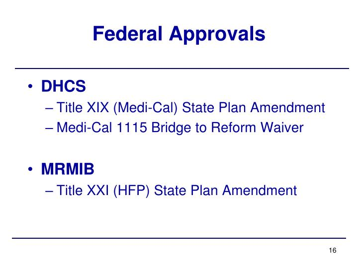 Federal Approvals