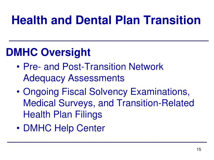 Health and Dental Plan Transition