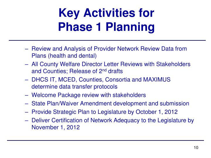 Key Activities for Phase 1 Planning