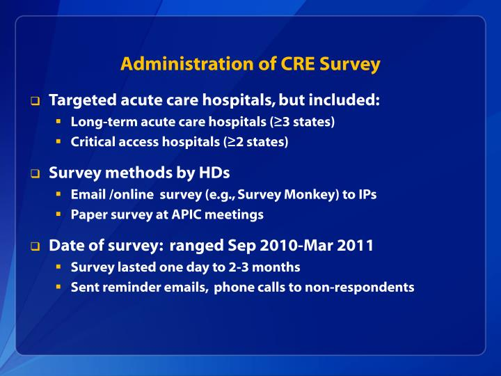 Administration of CRE Survey