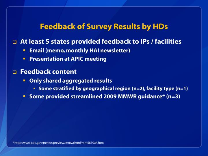 Feedback of Survey Results by HDs