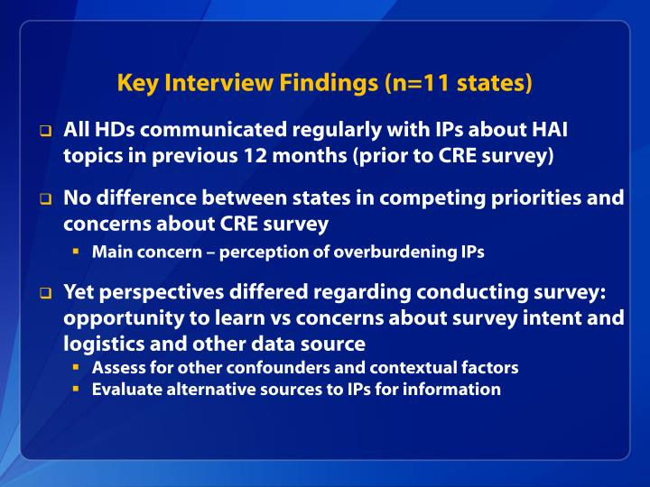 Key Interview Findings (n=11 states)