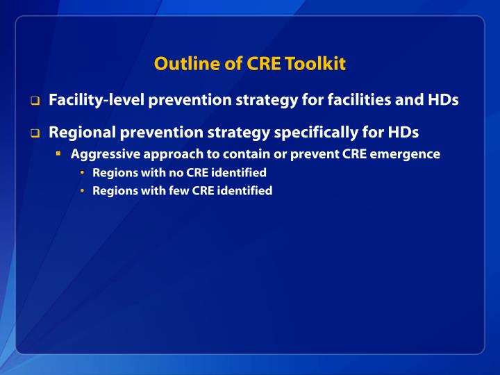Outline of CRE Toolkit