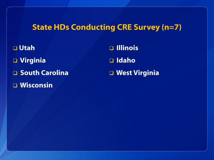 State HDs Conducting CRE Survey (n=7)