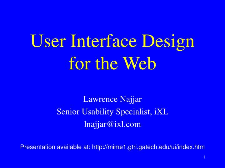 user interface design for the web n.