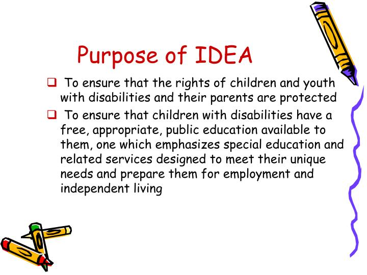 Purpose of IDEA