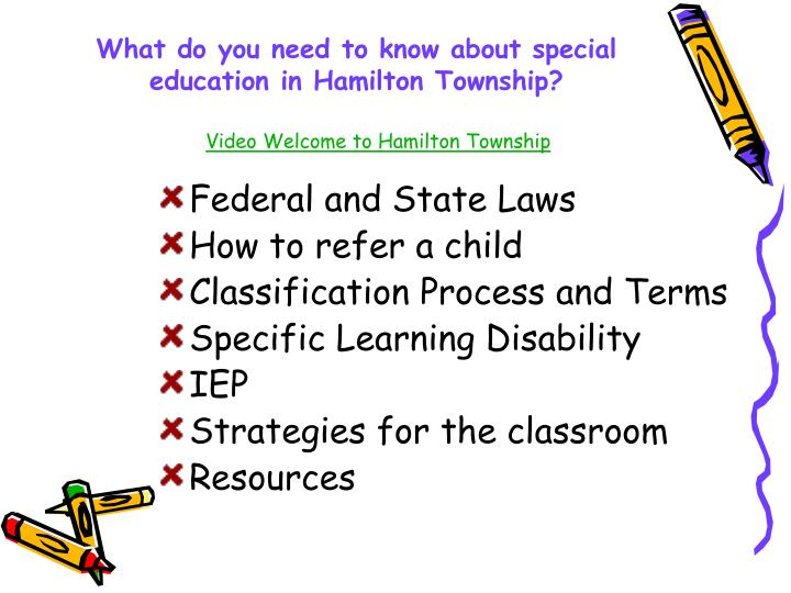 What do you need to know about special education in hamilton township