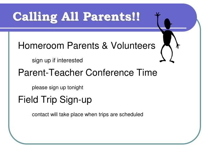 Calling All Parents!!