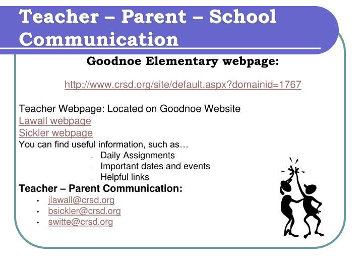 Teacher – Parent – School Communication
