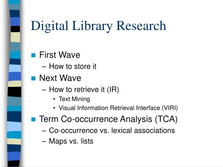 Digital library research