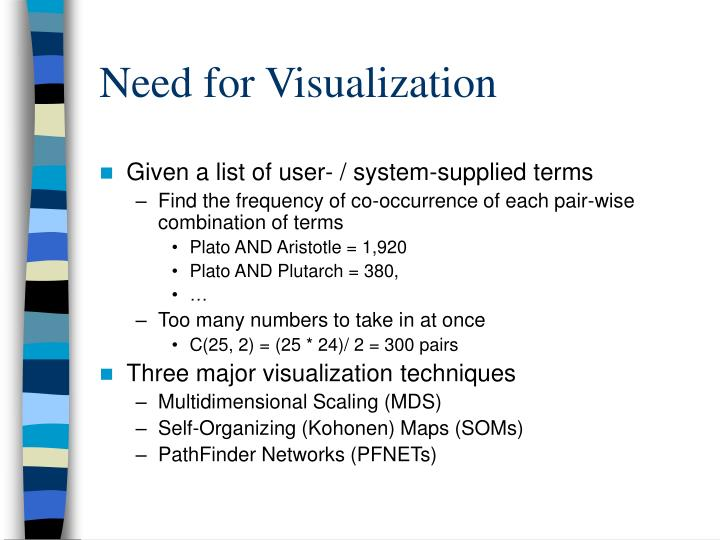 Need for Visualization