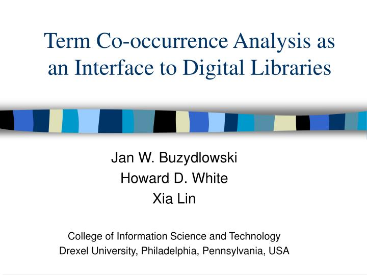 Term co occurrence analysis as an interface to digital libraries
