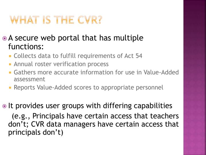 What is the cvr