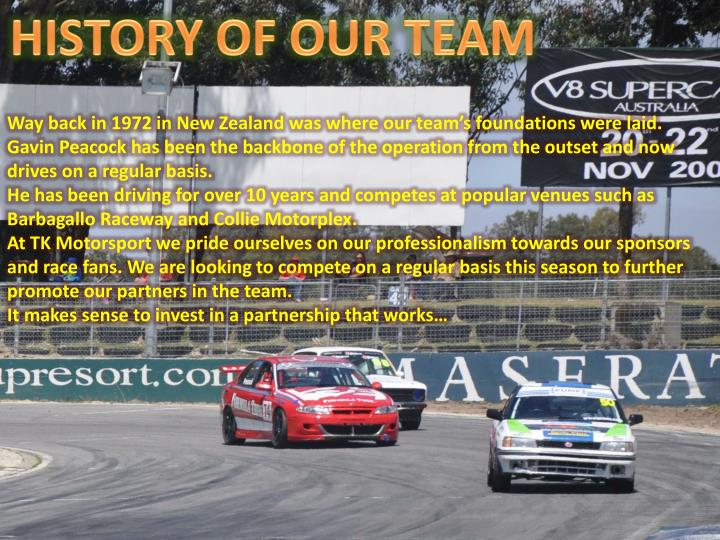 HISTORY OF OUR TEAM