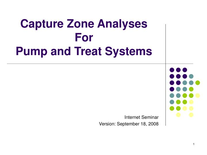 capture zone analyses for pump and treat systems n.