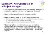 summary key concepts for a project manager