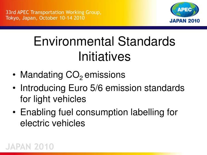 Environmental standards initiatives