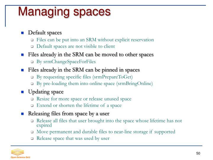 Managing spaces