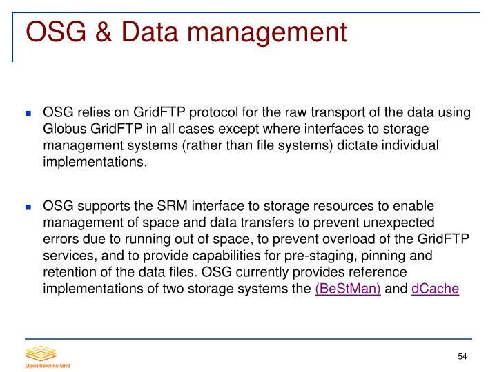 OSG & Data management