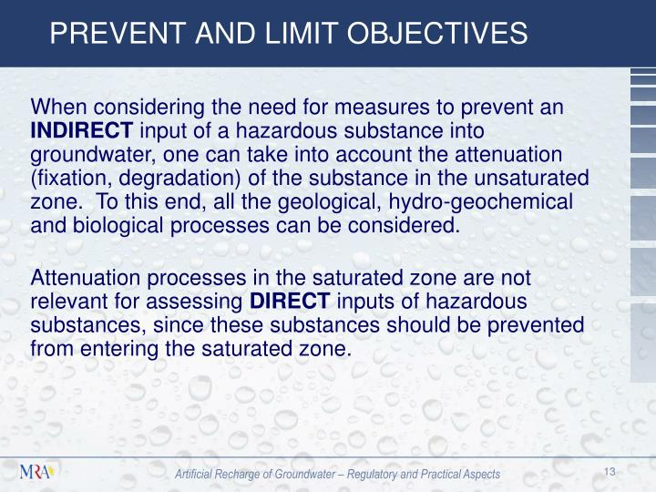 PREVENT AND LIMIT OBJECTIVES