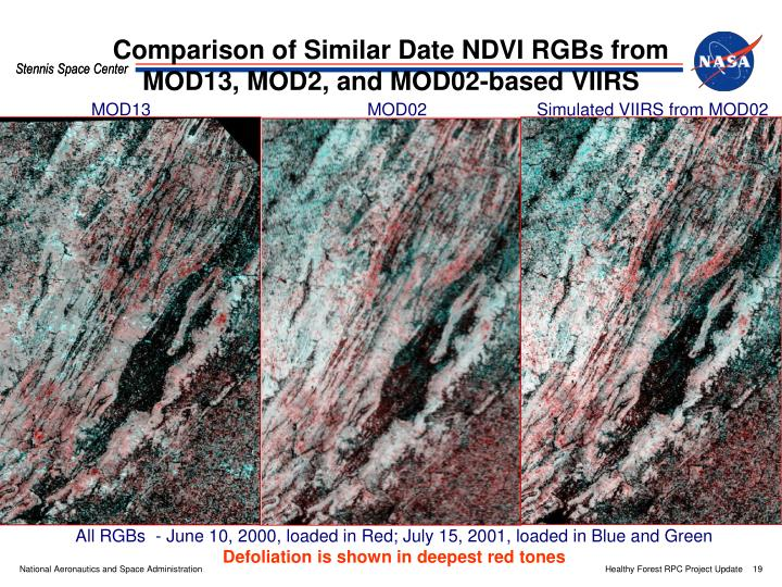Comparison of Similar Date NDVI RGBs from MOD13, MOD2, and MOD02-based VIIRS