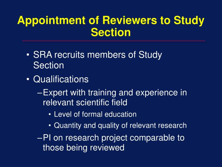 Appointment of Reviewers to Study Section