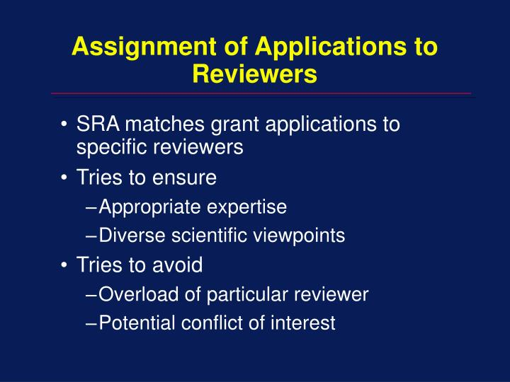 Assignment of Applications to Reviewers