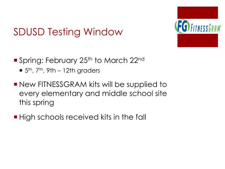 SDUSD Testing Window