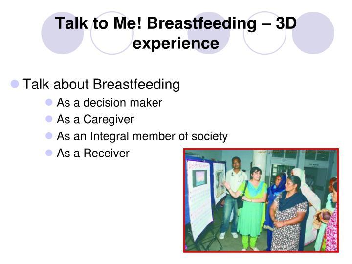 Talk to Me! Breastfeeding – 3D experience