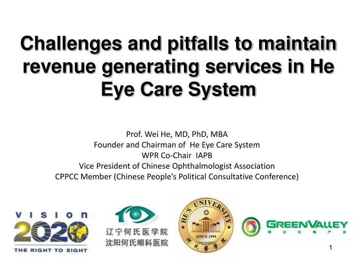 c hallenges and pitfalls to maintain revenue generating services in he eye care system n.