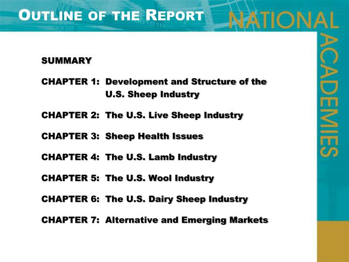 Outline of the Report