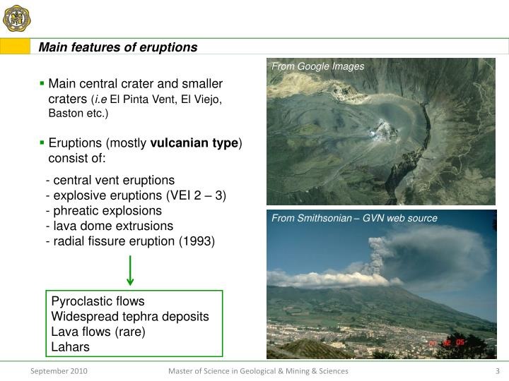 Main features of eruptions
