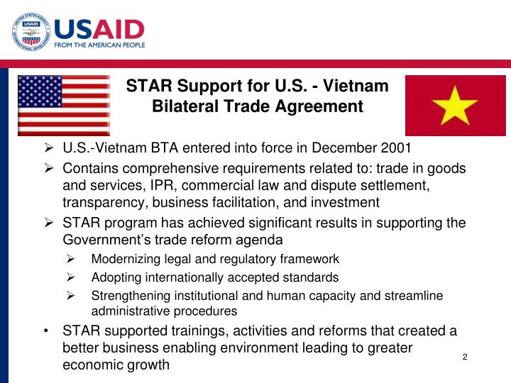 Star support for u s vietnam bilateral trade agreement