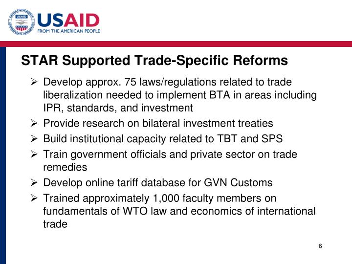STAR Supported Trade-Specific Reforms