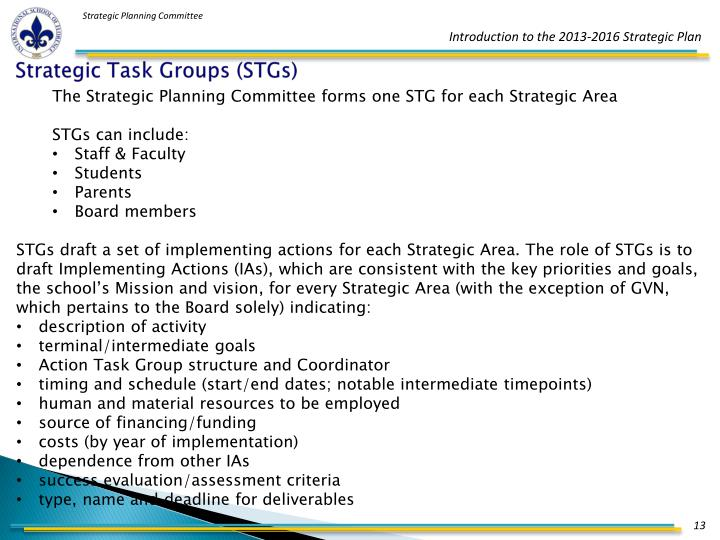 Strategic Task Groups (STGs)