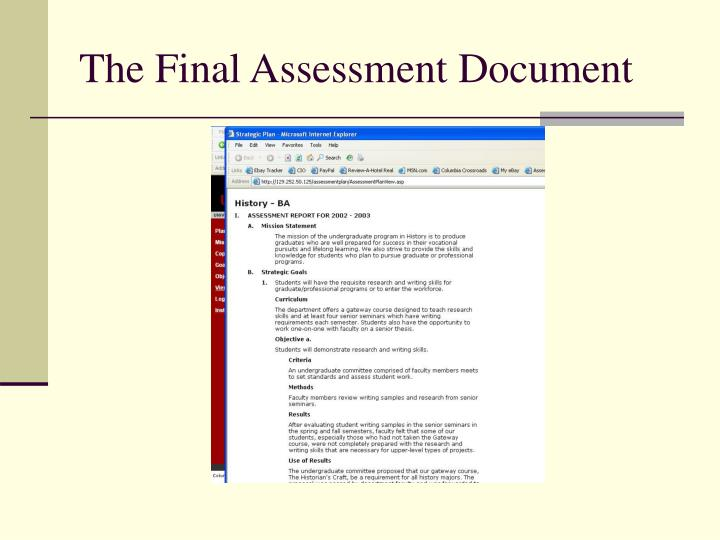 The Final Assessment Document