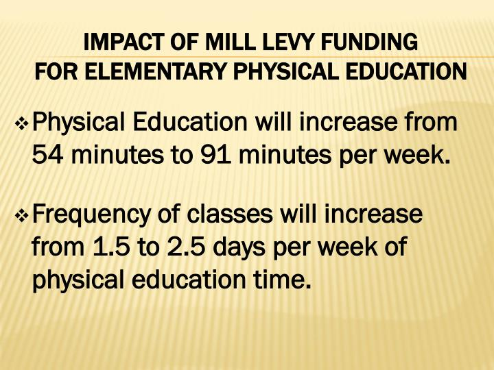 Physical Education will increase from 54 minutes to 91 minutes per week.