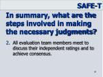 in summary what are the steps involved in making the necessary judgments1