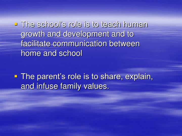 The school's role is to teach human growth and development and to facilitate communication between   home and school