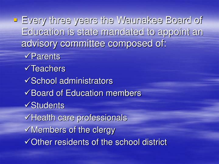 Every three years the Waunakee Board of Education is state mandated to appoint an advisory committee composed of: