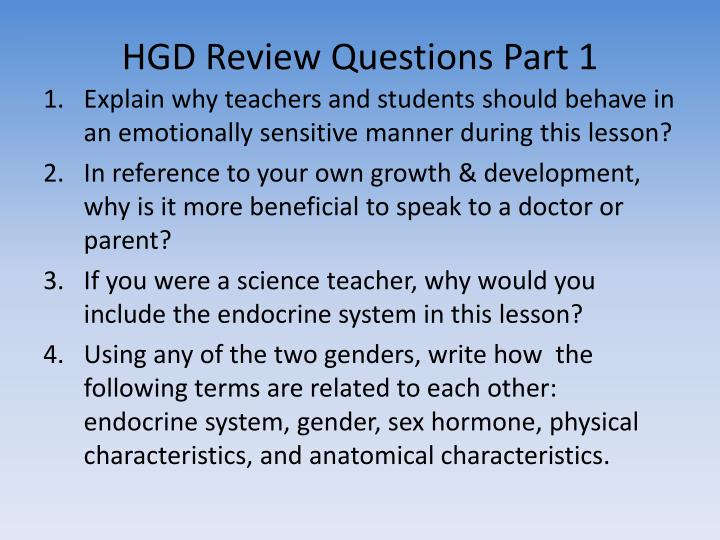 HGD Review Questions Part 1